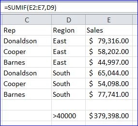 Example - Excel SUMIF withouth SumRange