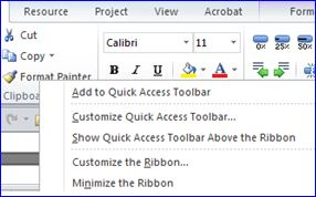 MS Project 2010 - Customize Quick Access Toolbar