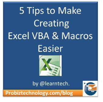 Make creating Excel Macros & VBA easier