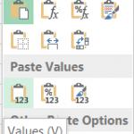 Excel paste special values
