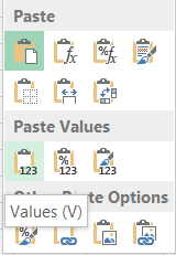 Excel paste special values