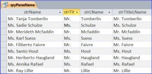 access query results - title and last name extracted