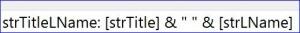 access query concatenate title last name