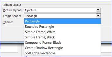 powerpoint picture album frame shape