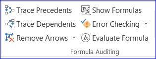 Excel 2013 Show Formulas