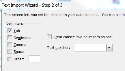 Excel Text Import Wizard - Step 2