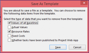 Project 2013 Remove Data from Template