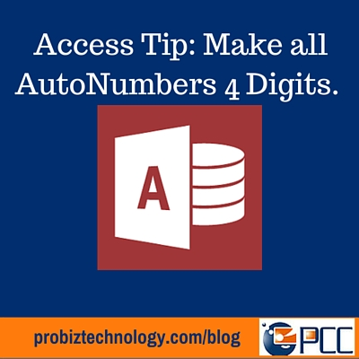 Access 4 Digit AutoNumbers