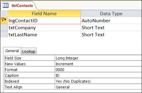 Access Field Properties Formatting Autonumber to 4 digits