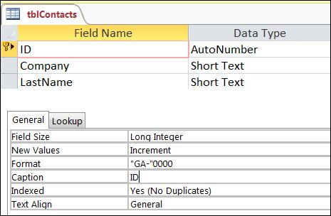 Access Field Properties Autonumber Text 4 Digit Numbers