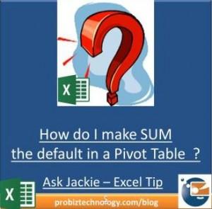 Excel Pivot Table SUM Default Function