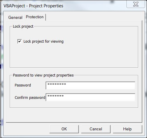 Excel VBA Project Protect