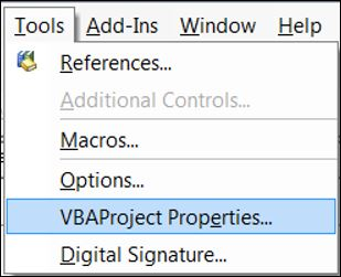 excel vba vbe tools menu