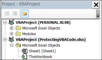 Excel VBA Select Project